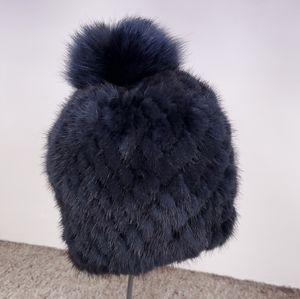 Knitted Mink Fur Beanie with Fox Pom